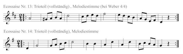 Melodiestimmen der Agthe-Ecossaisen 13 und 14.
