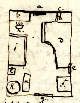 Skizze des Zimmers von Webers Hand