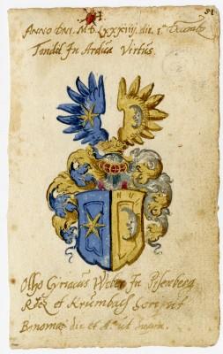 Webersches Wappen auf einem Albumblatt von Otto Cyriak Weber (1584)