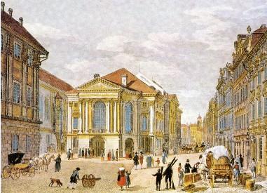 """""""Ständisches National-Theater [Prag]"""". Stich von Vincenc Morstadt (um 1835). Quelle: Karl Laux, Carl Maria von Weber, Leipzig 1978, Nr. 43"""