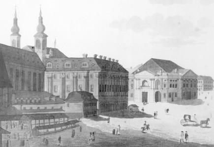 """""""Prospect von dem Altstädter National-Theater in Prag"""". Radierung von Leopold Peucker (ca. 1793). Foto in D-B"""